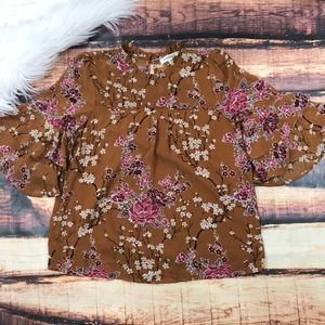Bell Sleeve Short Sleeve Cherry Blossom Top